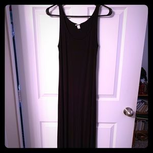 Long black cotton fitted dress